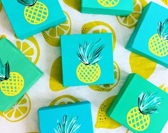 turquoise pineapple square painting, original canvas art