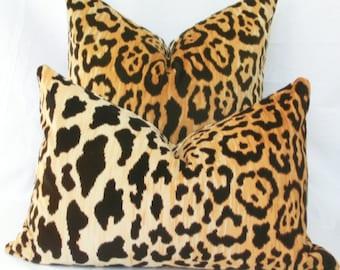 Leopard velvet pillow lumbar Euro sham Leopard pillow cover 18x18 20x20 22x22 24x24 26x26 12x20 12x24 14x24 14x26 16x24 16x26 Braemore Jamil