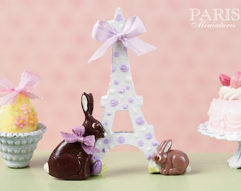 "MTO-An ""Easter in Paris"" Eiffel Tower and Chocolate Bunny Decoration for Spring (Lilac Ribbon) - Miniature Decoration in 12th Scale"