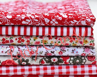 7 coupons fabric Betsy 25 x 20 cm Patchwork flower tones red flowers sewing #7135