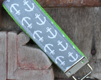 READY TO SHIP-Beautiful Key Fob/Keychain/Wristlet-White Anchors-Gray/Lime