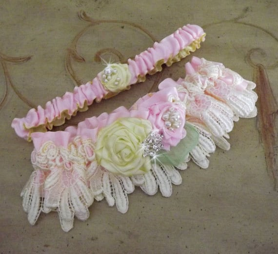 Pink Yellow Wedding Garter Set/ Lace Garter/Handmade Flowers