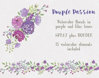 Watercolor Floral Clip Art And Elements Lilac Purple Roses Flowers Hand Painted