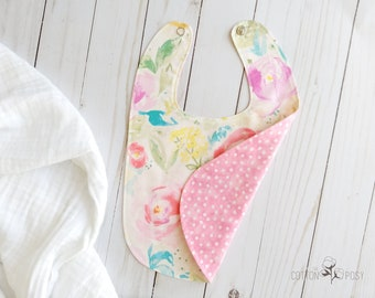 Baby Bib - Reversible - Watercolor Floral Print for a Girl