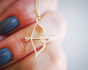 Bow And Arrow Necklace - Large Natural Bronze Bow and Arrow Charm -  14K Gold Filled Delicate Chain - Insurance Included