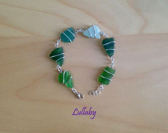 Bracelet with sea glass beads-bracelet with sea glasses pearls