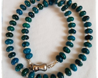 Sized Purse Teal azurite-Chrysocolla-Rondelle