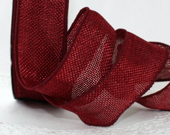 """Wired Burgundy No Shed Burlap Ribbon, 1.5"""""""