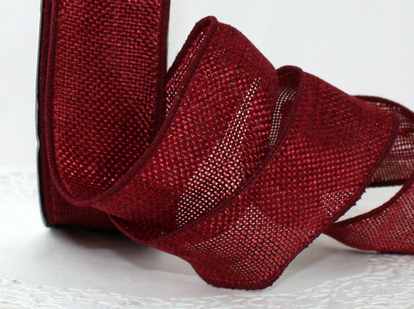 Wired Faux Burgundy Burlap Ribbon 1.5 wide by the yard
