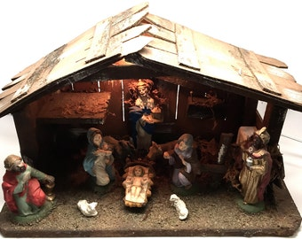 Vintage Nativity, Crèche, Italy, Composition, Lighted, Musical, Silent Night, Holy Night, 1960