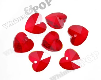 Red Heart Multi-Faceted Glass Crystal Beads, Glass Heart Beads, Glass Beads, Glass Heart Charms, 10mm - 14mm (R7-072)