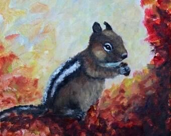 Chipmunk Fall Painting Original OIl on Canvas Painting Fall Leaves Giclee Print Fine Art Nursery Art Magnet Carol Lytle FREE SHIPPIg #101