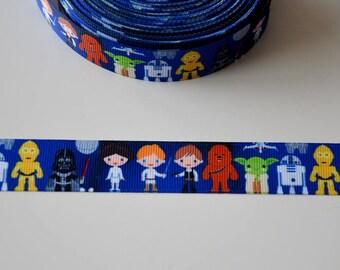 """STAR WARS"" grosgrain Ribbon background blue 22mm"