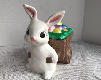 Vintage Easter Bunny Figurine / Ceramic Easter Bunny Candy Dish / White Rabbit with Easter Egg Cart