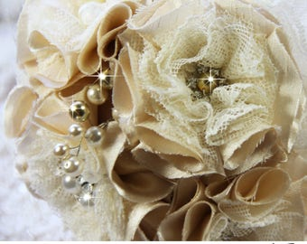 Champagne Bridal Brooch Bouquet, Caramel Bridal Bouquet, Wedding Bouquet, Wedding Broach Bouquet