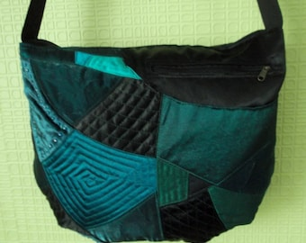 Women everyday crossbody bag  teen girl black teal fabric bag tote  quilted teacher book bag Mother day gift