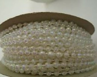 Crystal Clear Iridescent Fused String Pearl Beads on a spool -- 3 mm