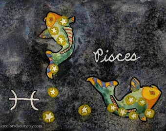 Pisces Watercolor Print Zodiac Art Horoscope Wall Art Nautical Decor Fish Artwork Constellation Picture Astronomy Space Pisces Art Astrology