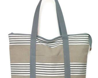 Large Zippered Tote Bag  /  Gym Bag / Travel Bag / Overnight Bag / Beach Bag / Weekend Bag / Tote Bag / Tote / Canvas Tote Bags