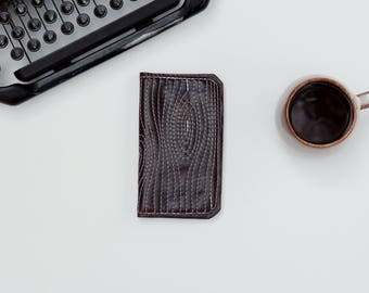 Leather iPhone Wallet - The Data Jack - Espresso Brown w/ Woodgrain Stitching