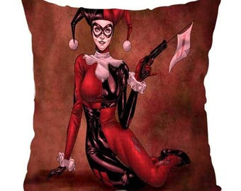 Superhero Harley Quinn Joker Pillow Satin Cushion Red Black Home Decor