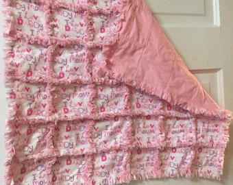 ILOVEMOMMY - ILOVEDADDY Rag Quilt Security Blanket - Mini - Pink
