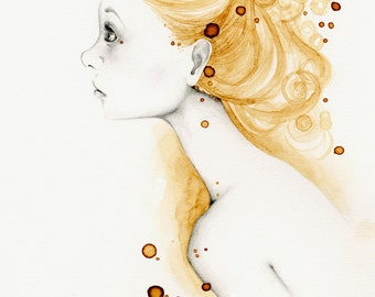 "Fine Art Print She's ""Reflections"" Gold Girl Art Print Gift for Women for Her Gold Wall Art Coffee Staining Abstract Gold Painting Original"