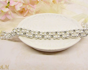 Pearl bridal headband, bridal headpiece, wedding headband, rhinestone headband, pearl tiara, flower girl headband, bridal hair vine
