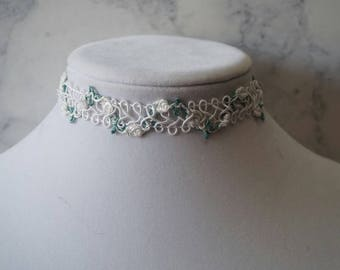White On White Rose Choker