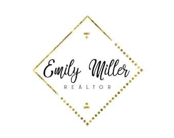Modern gold logo, Realtor logo, Photography logo design, Gold logo, Feminine logo design, Premade logo, Gold glitter logo, Logo and branding