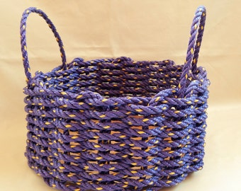 Medium Hand Woven Solid Purple Basket