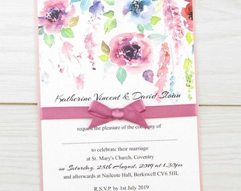 SAMPLE * Summer Brights Wedding Invitation Ribbon Wrap