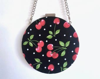 Cherries on Black with Polka Dots Round Minaudière Clutch