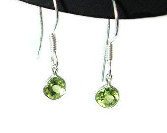 Peridot sterling silver french hook dangle earrings