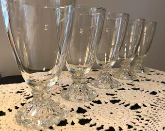 Vintage Anchor Hocking Footed Beaded Berwick/Boopie Glasses - Set of 5