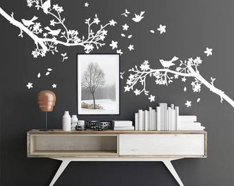 "01408 ""Wild branches with flowers"" Wall Stickers Decoration trees"