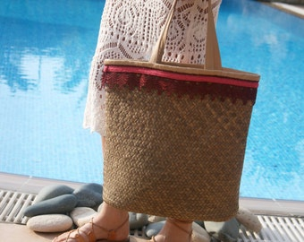 Straw Tote Bag - Leather Basket Tote Bag - Straw Beach Bag - Basket Bag - Woven Straw Bag - Straw Beach Totes