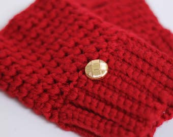 Texting gloves/driving gloves/fingerless mittens - extra fine merino wool with beautiful gold buttons (ruby red)