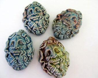 10 Raku Zeus Pendants - beads