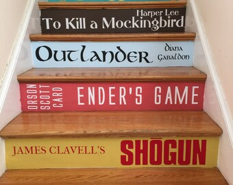Book Spine Stair Decals | Books Stairs | Premium Version