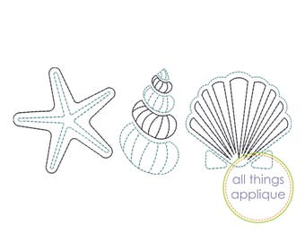 Triple Seashell Embroidery Design (#963) - Quick Stitch - Machine Embroidery Design - 4 Sizes - INSTANT DOWNLOAD