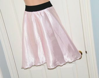 Satin panties with cheerleader skirt, in slithery creamy baby pink satin, Sissy Lingerie  NH 61