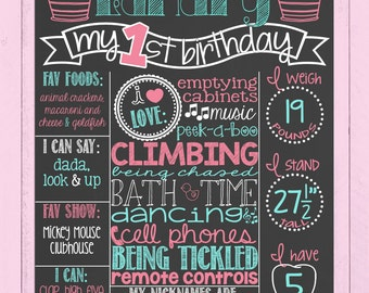 First Birthday Chalkboard Poster | Girl Birthday Board | 1st Birthday Sign | Pink and Blue | Pink and Aqua | Teal | *DIGITAL FILE*