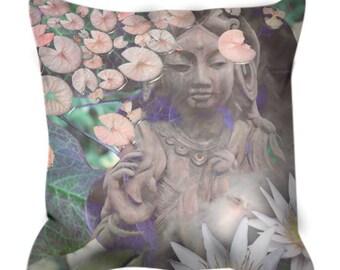 Goddess Throw Pillow - Pastel Kwan Yin Buddhist Art Pillow - Asian Style Zen Home Decor by artist Christopher Beikmann