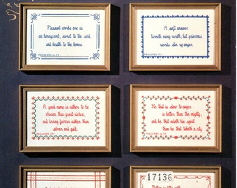 PROVERBS SAMPLERS Counted Cross Stitch 6 Mini Sampler Patterns