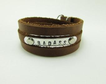 "Stamped ""BADASS"" Triple Leather Wrap Bracelet"