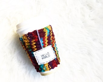 Travel Coffee Mug Cozy, Knitted Tea Mug, Knit Mug Cozy, Coffee Mug Cozy, Womens Gift, Cup Cozy, Knitted Cozy, Personalized Custom Gift