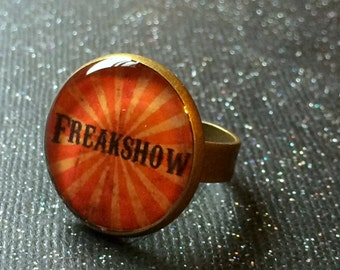 FREAKSHOW Ring | Freak Show Bronze Adjustable Ring | Sideshow Freak Jewelry | Creepy Carnival Horror Alternative Alt Gothic Nu Goth Ring