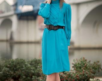 Vintage Sheer Turquoise Asymmetrical Dress (Size Medium/Large)