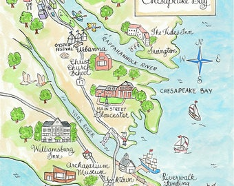 Custom Business Map - Williamsburg - Hand Drawn Wedding Map-Watercolor Map